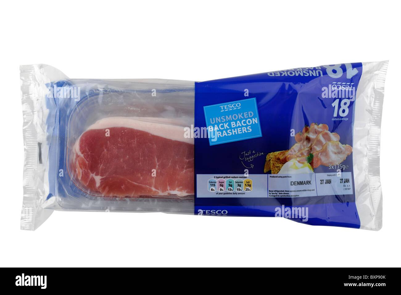 Pack of Tesco 18 rasher unsmoked bacon from Denmark - Stock Image