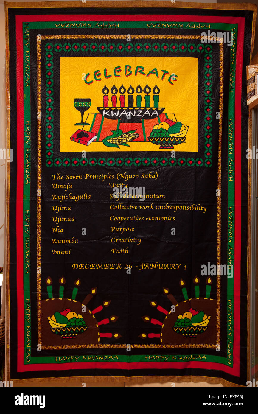 nguzo saba poster of the seven principles of kwanzaa BXP96J