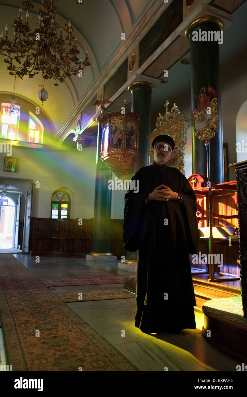 Deacon Dorotheos singing at the end of the evening service, Heybeliada, Turkey - Stock Image