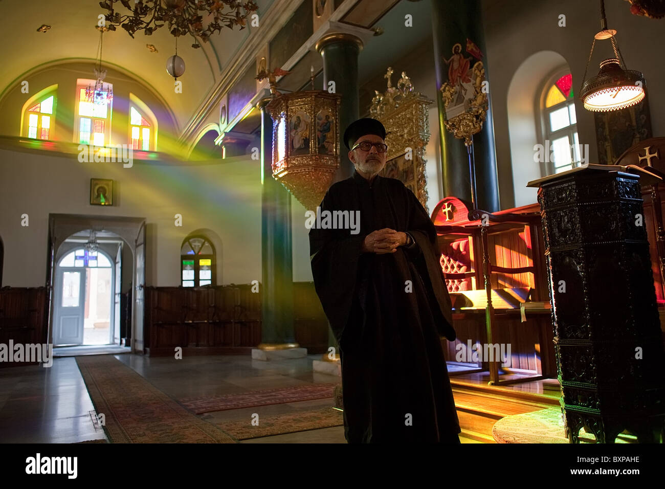 Deacon Dorotheos ending the evening service, Heybeliada, Turkey - Stock Image