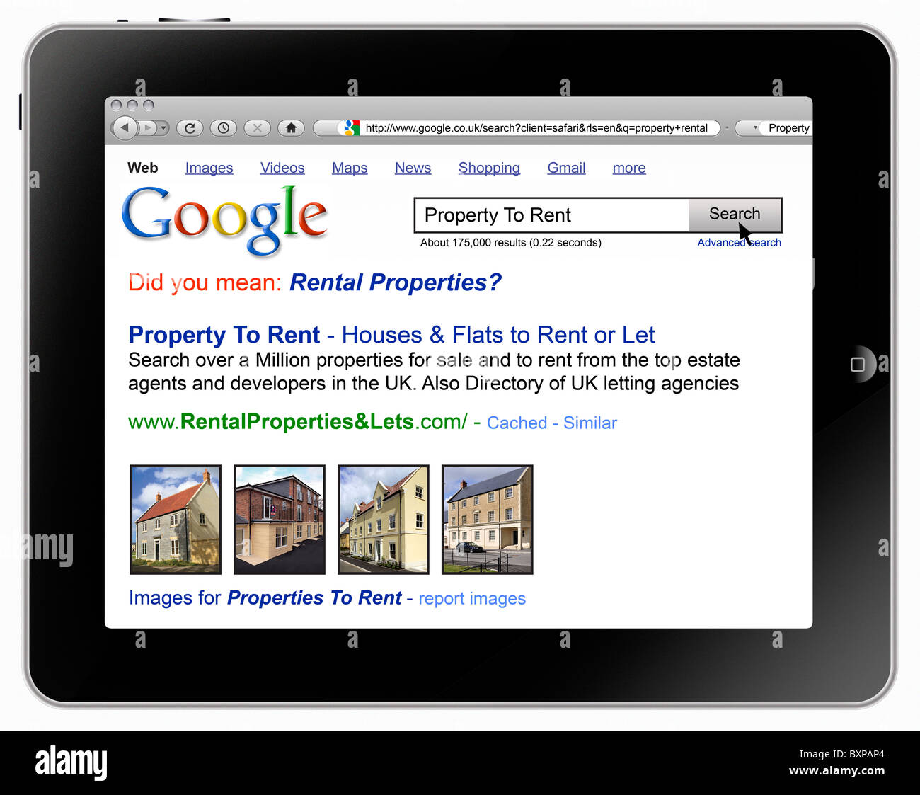 Rental Property Search Engine: Apple IPad With Safari Browser And A Google Search For