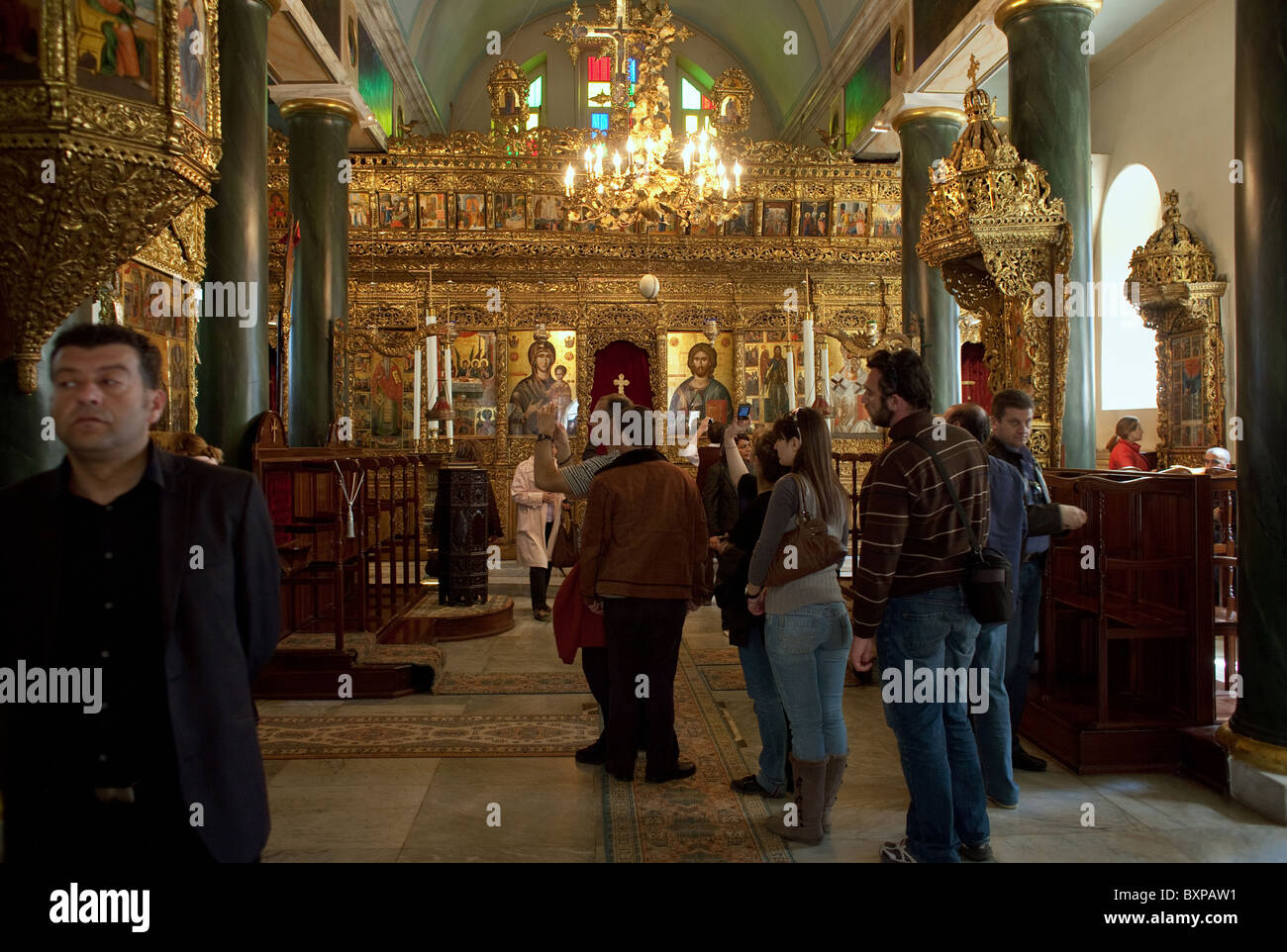 Group of visitors in the Church of the Holy Trinity, Heybeliada, Turkey - Stock Image