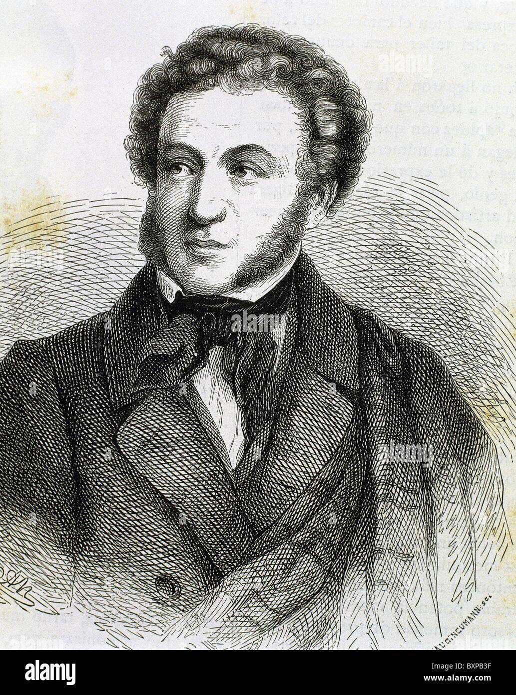 Pushkin, Aleksandr Sergeevic (Moscow ,1799-Petersburg, 1837). Russian poet. Engraving. - Stock Image