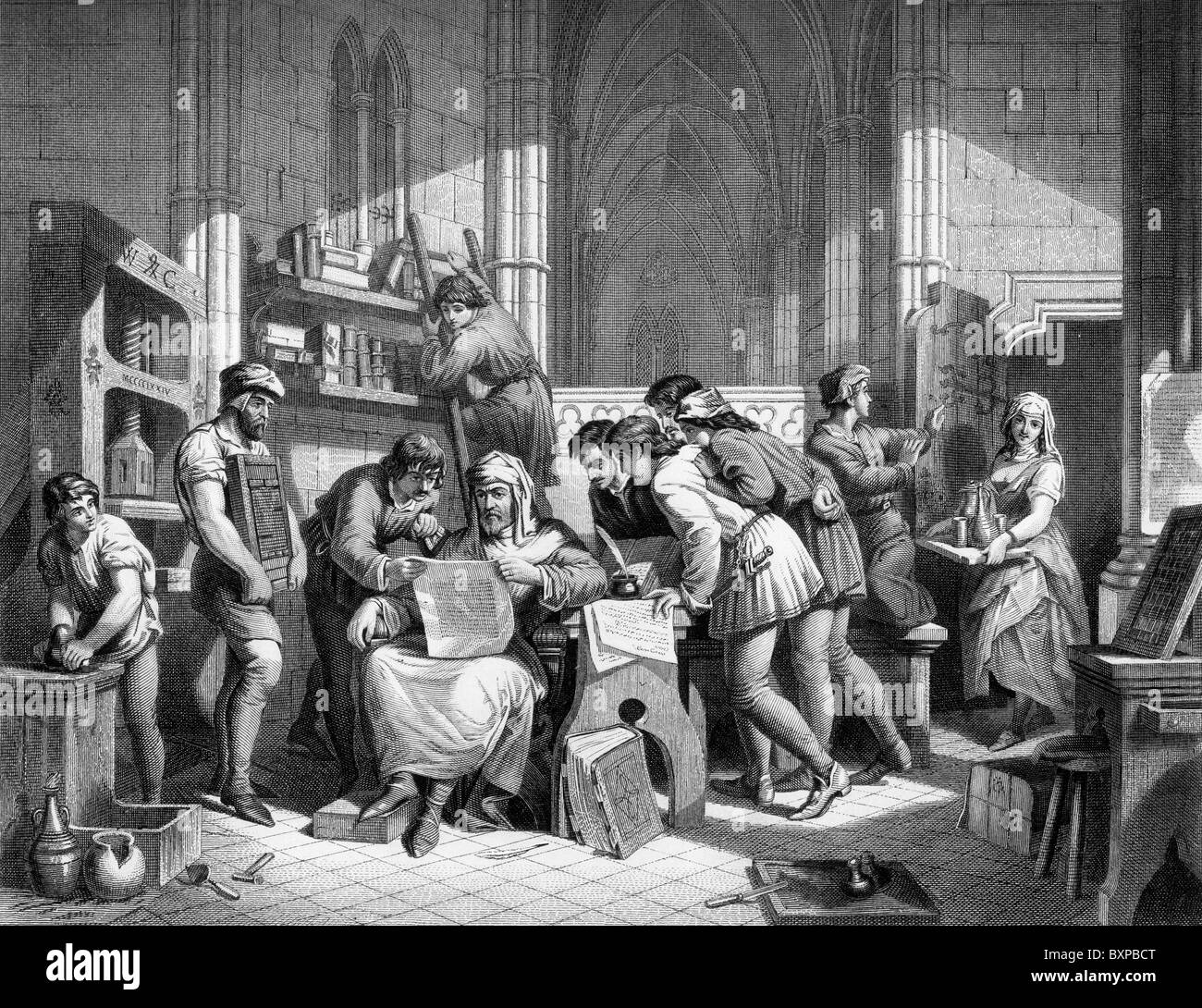 Introduction to the Art of Printing; William Caxton reading the first proof sheets from his new printing press, - Stock Image
