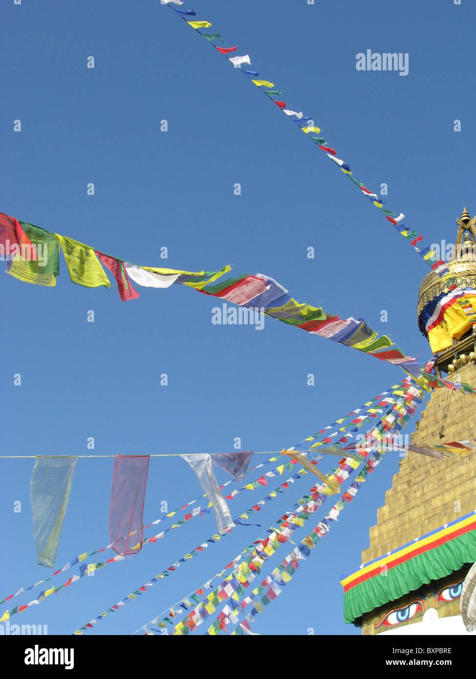 Prayer flags Bodnath Buddhist stupa in Kathmandu, Nepal - Stock Image