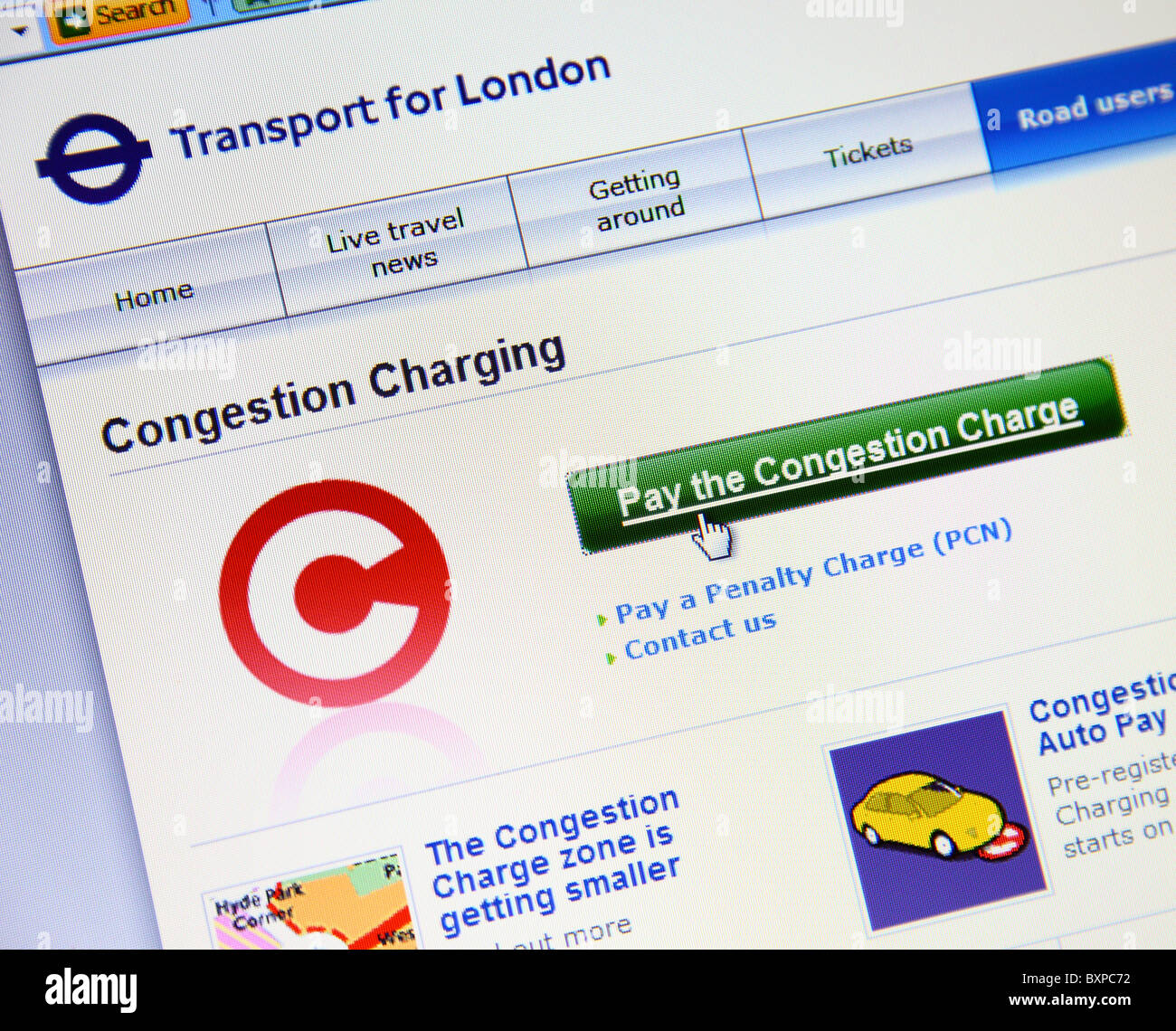 Transport for London (TFL) Congestion Charge online payment website. - Stock Image