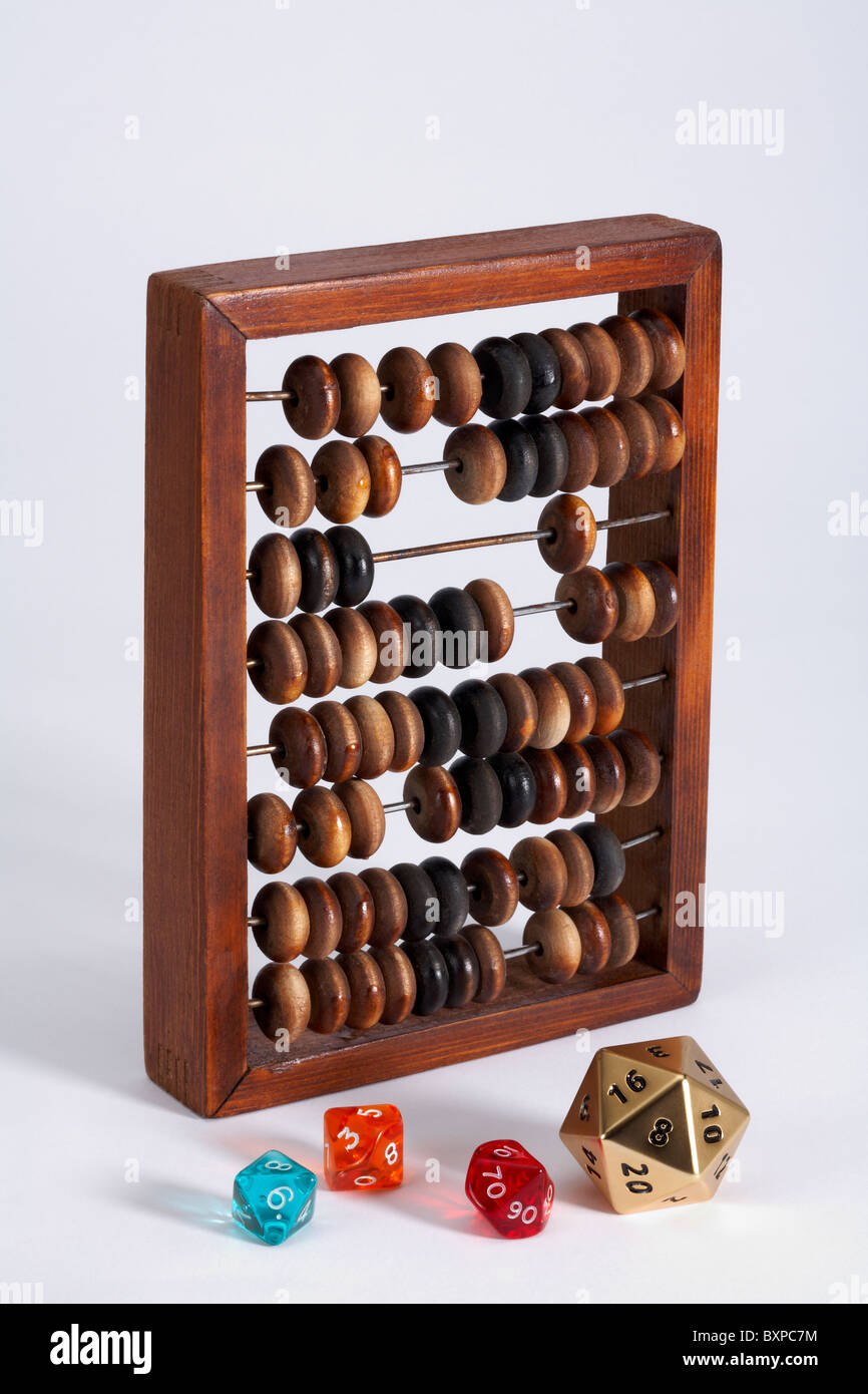 Wooden Abacus with numbered traditional and multi sided dice - Stock Image