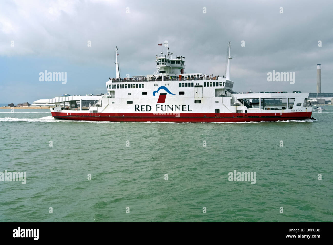 Red Funnel ferry Red Eagle in the Solent off Southampton in England - Stock Image