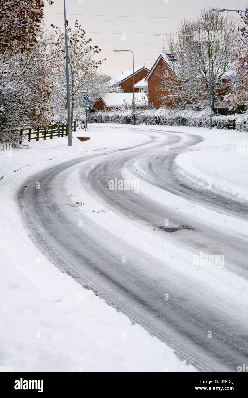 Icy snowy roads - Stock Image