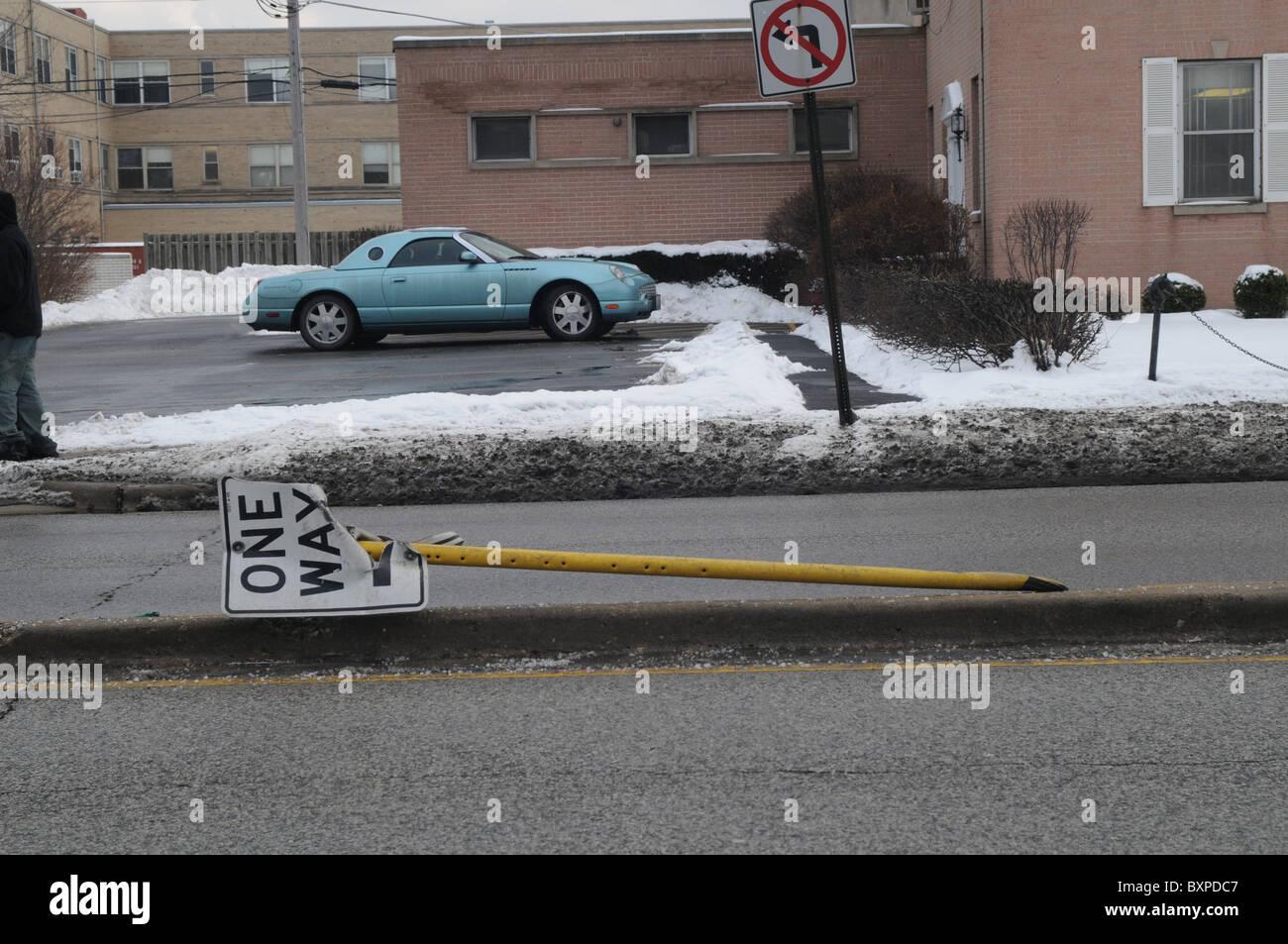 Fallen street sign - Stock Image
