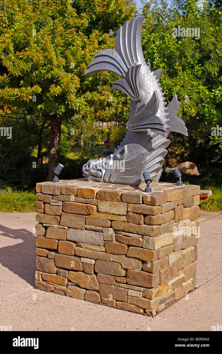 Statue of the Shachi mythical ferocious fish of Japan located in the ...