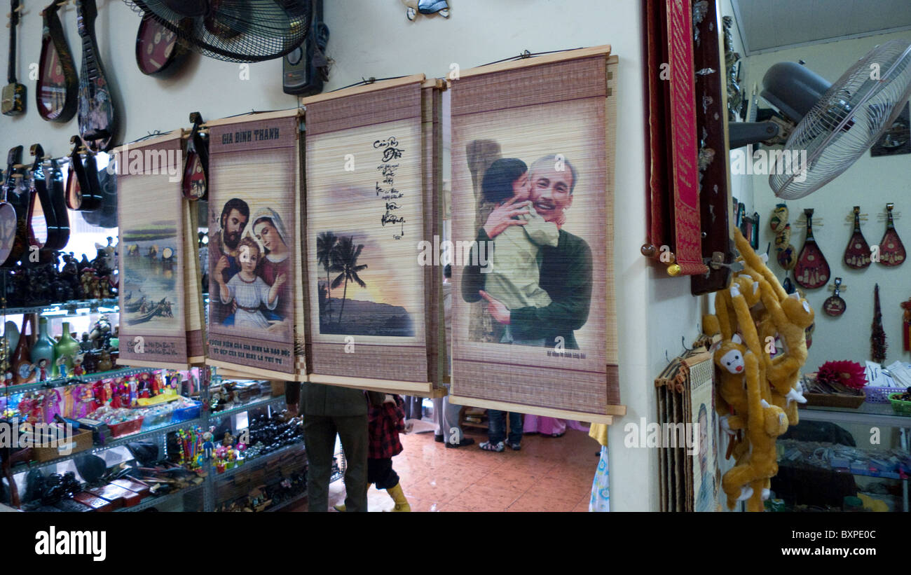 various iconography seen in a shop in Hanoi - Stock Image