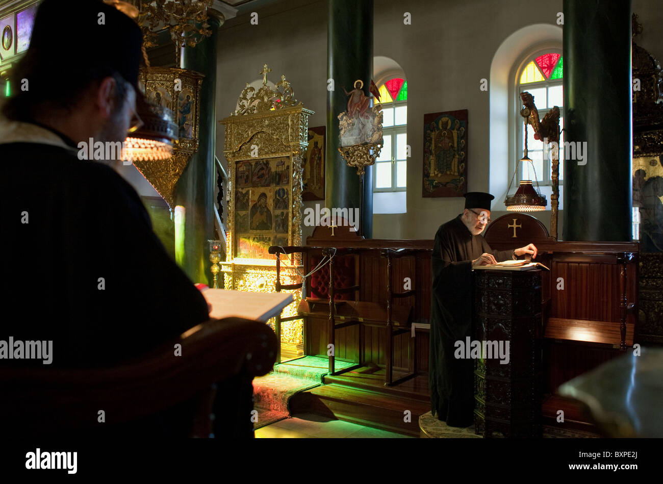 Evening service in the Church of the Holy Trinity, Heybeliada, Turkey - Stock Image