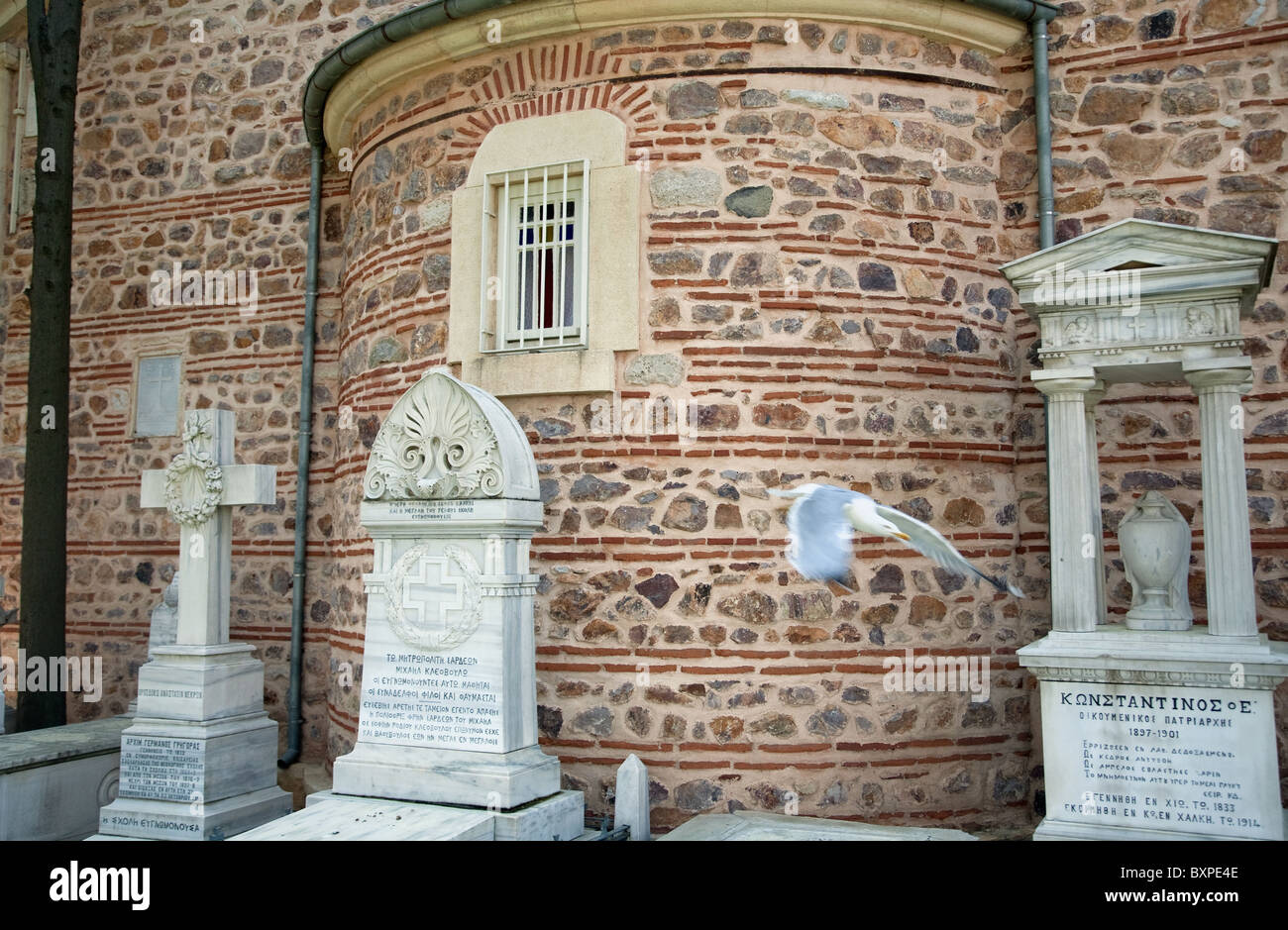 Sepulchres of priests at the Church of the Holy Trinity, Heybeliada, Turkey - Stock Image