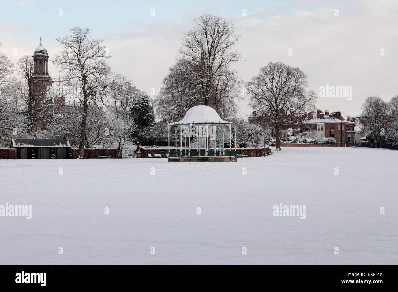 Viewed on one very cold day in December 2010,various popular sites in both The Quarry and Shrewsbury. - Stock Image