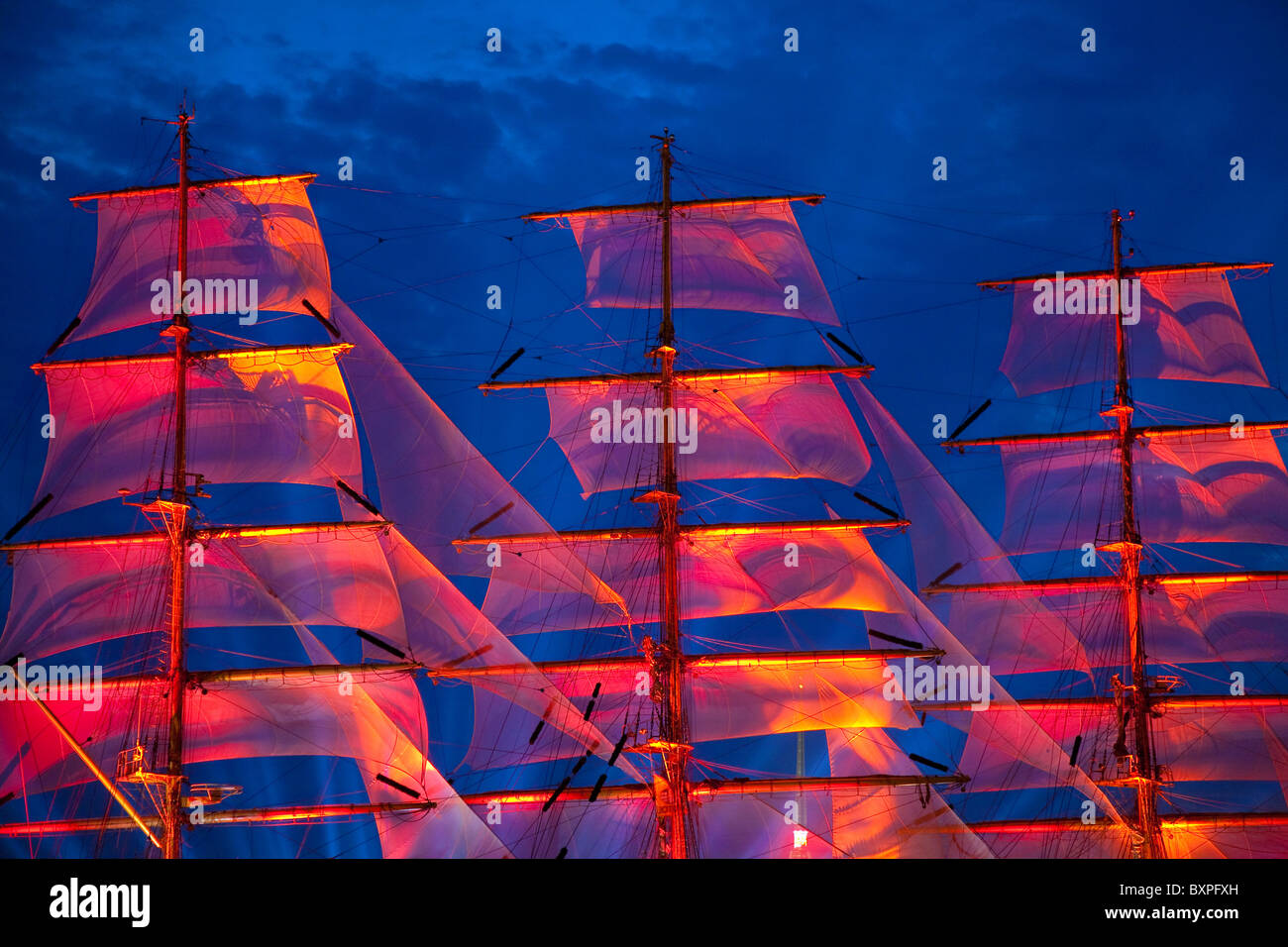 Scarlet sails, Neva river, Saint-Petersburg, Russia - Stock Image