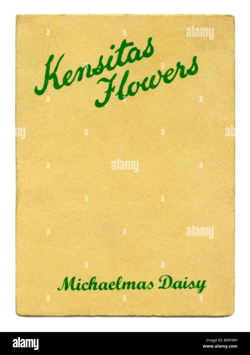 Kensitas Flowers cigarette card folder containing a silk flower inside, given away in packs of cigarettes in 1933 - Stock Image