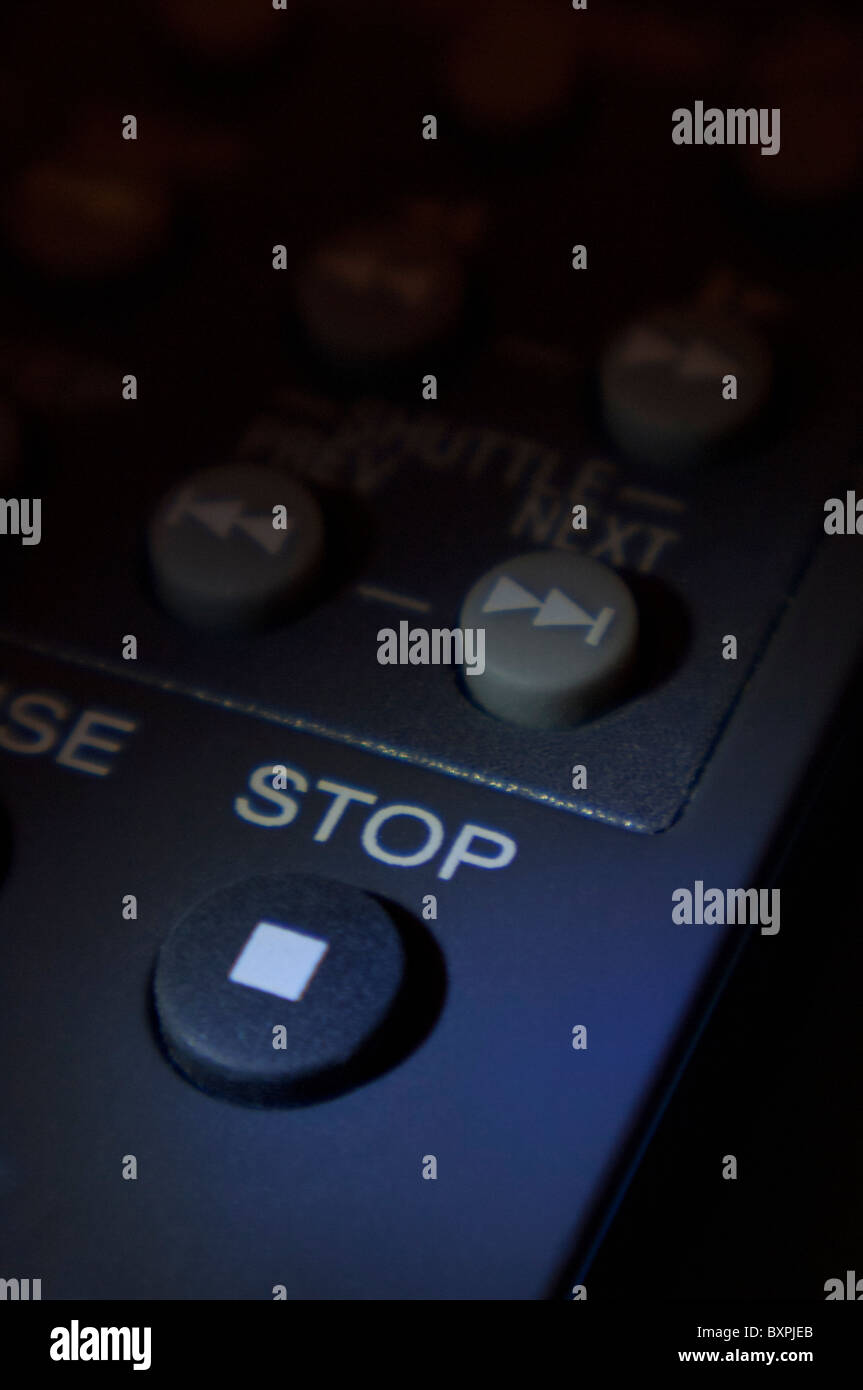 Close-up of STOP button on a remote control - Stock Image