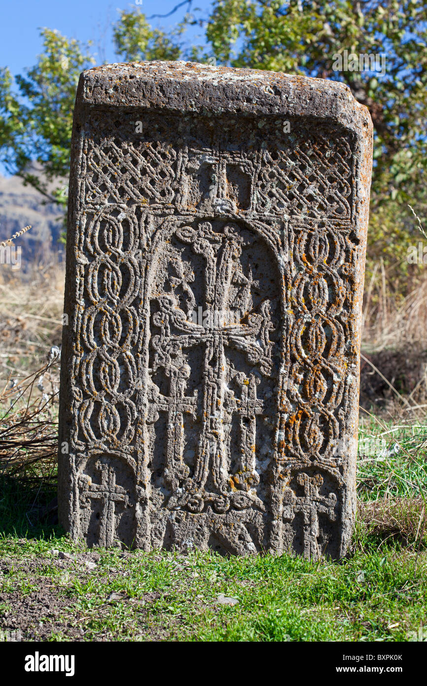 Cross-stone (khachkar) in the territory of Khosrov reserve, Armenia (XI century). - Stock Image