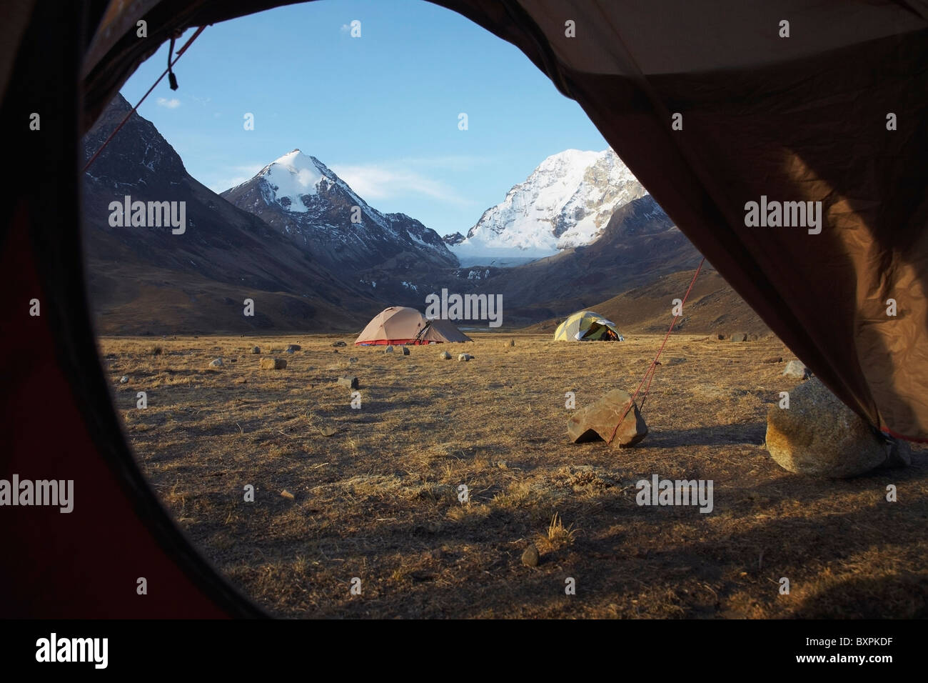 Huayna Potosi Viewed From Tent - Stock Image