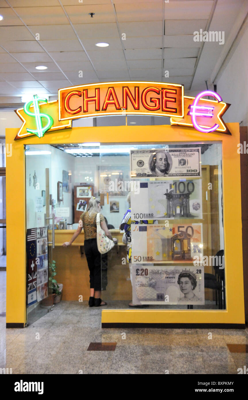 Money Exchange booth, Israel, Haifa interior of a shopping mall - Stock Image