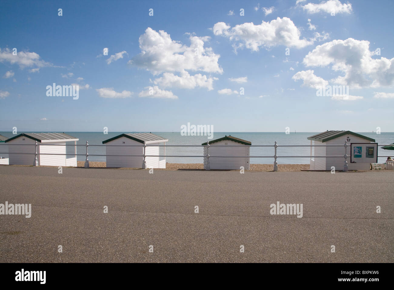 beach buts at bexhill on sea on the east sussex coast - Stock Image