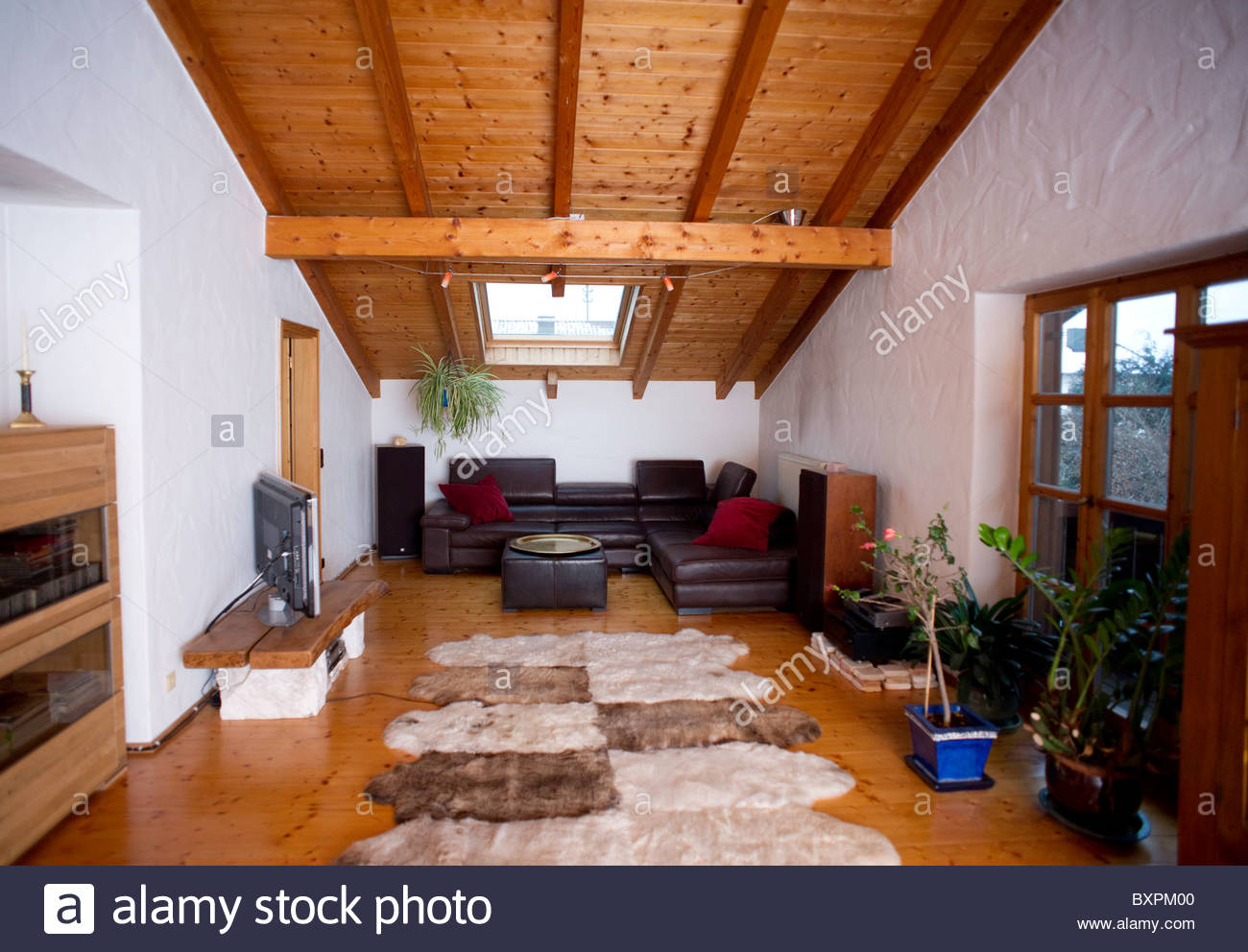 Typical house Bavaria Southern Germany - LIVING ROOM - Stock Image