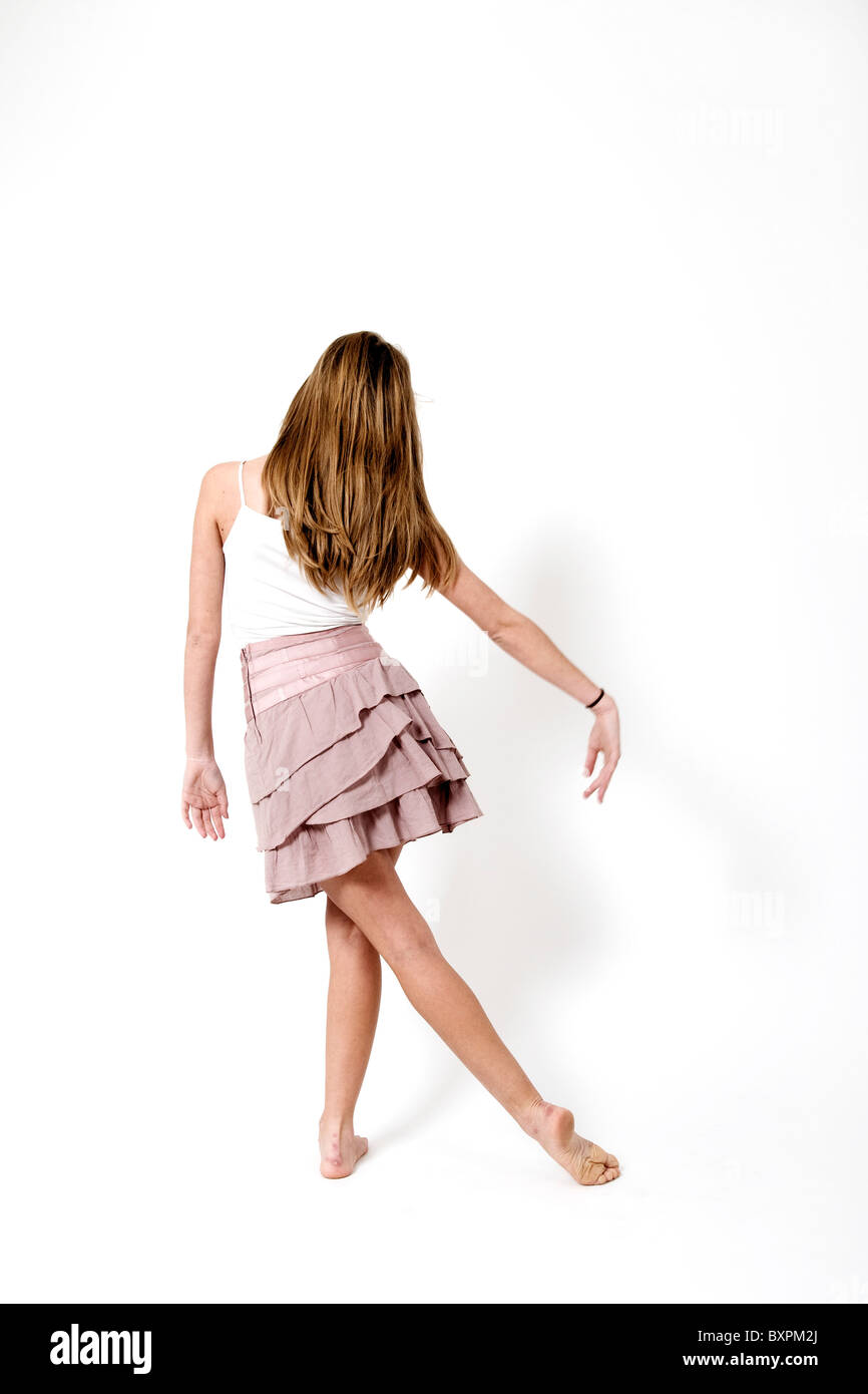 Teen dancer on On white Background - Stock Image