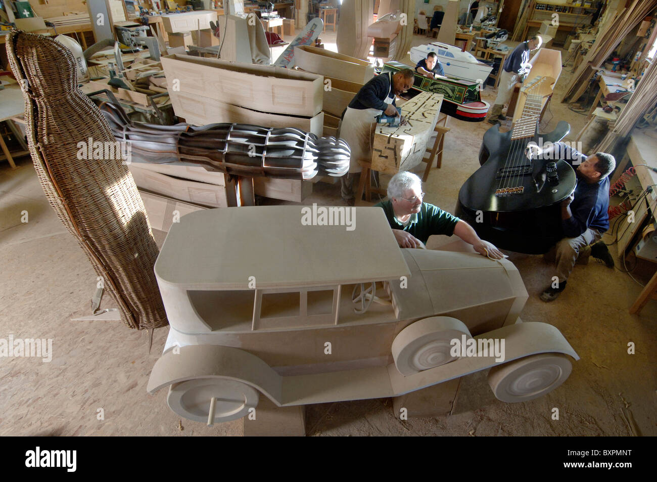 The workshop of Vic Fearn coffin makers of Bulwell, Nottingham. - Stock Image