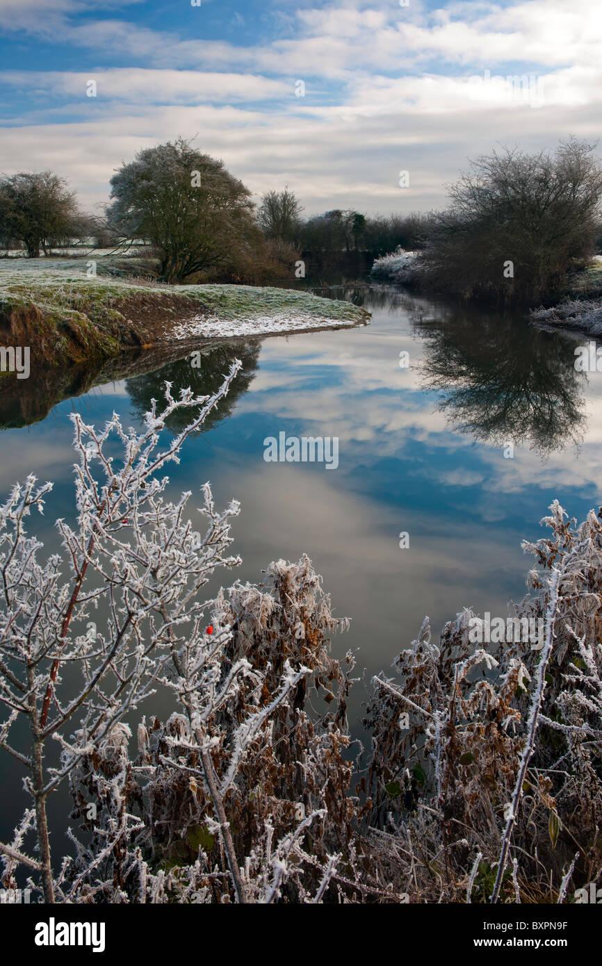 Winter River Landscape Stock Photo