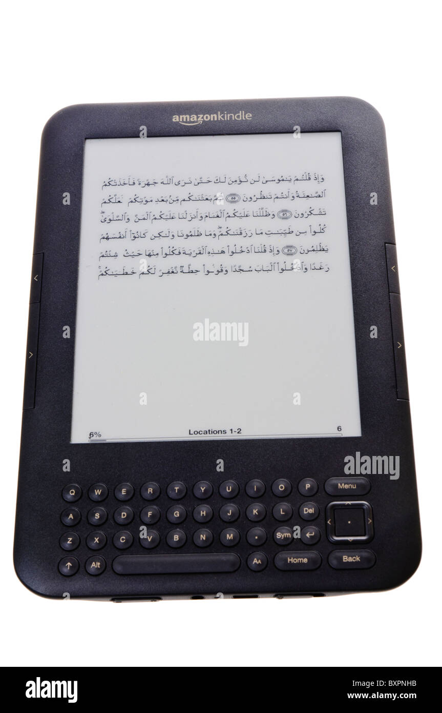 Amazon Kindle showing passage from the Qu'ran in arabic - Stock Image