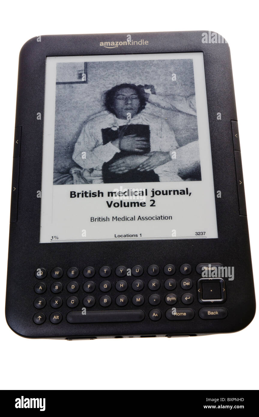 Amazon Kindle showing the British Medical Journal - Stock Image