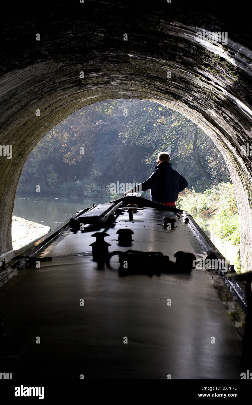 exiting blisworth tunnel on grand union canal england - Stock Image