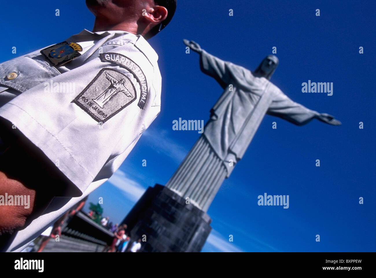 Guard And Corcovado Christ The Redeemer Stock Photo