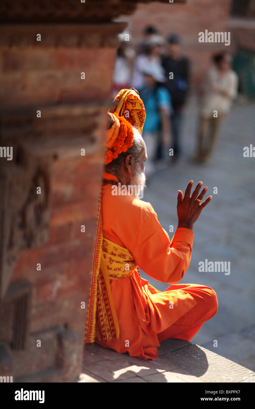 A Hindu Sadu (or ascetic) holy man in Durbar Square, Kathmandu, Nepal. - Stock Image