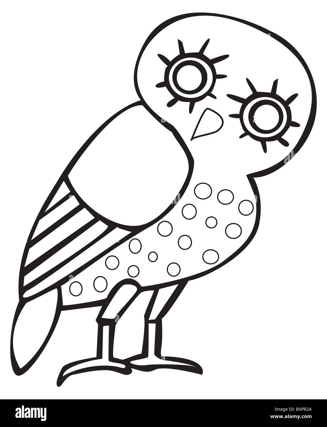 Greek owl sign, symbol, for tattoo or artwork, vector. - Stock Image