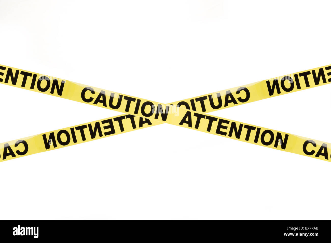 Warning sign Caution Attention, studio isolated on white background - Stock Image