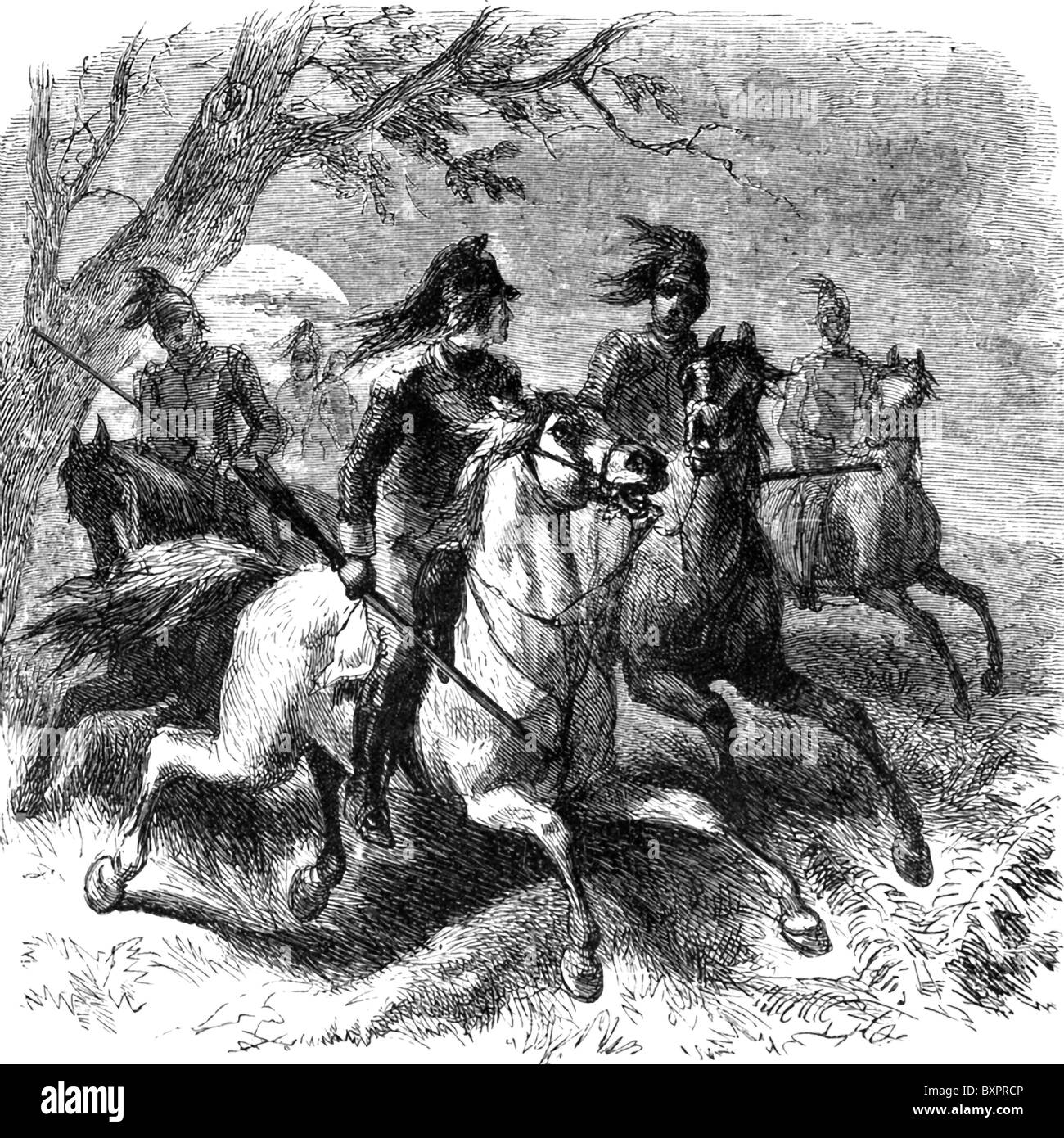 Francis Marion, an American partisan leader in the American Revolution, pursues the British with his cavalry. - Stock Image