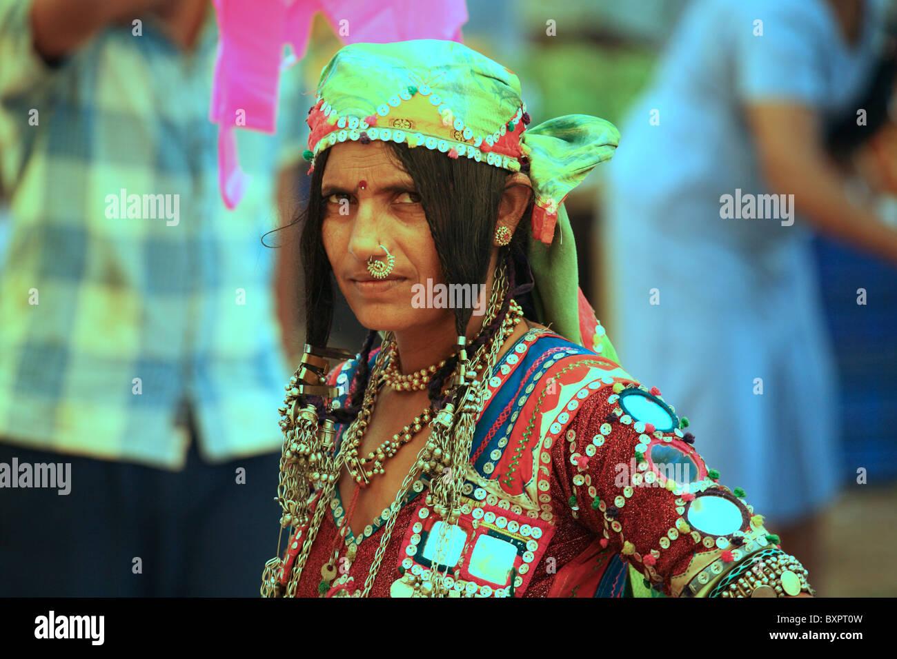 Karnatakan woman at Anjuna flea market, India Stock Photo