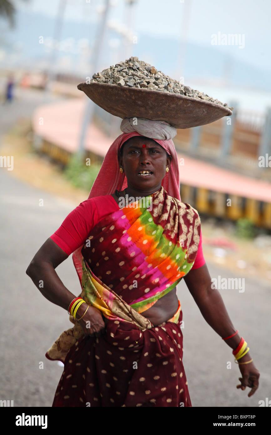 Female manual labourer on Port Blair, Andaman Island, India - Stock Image