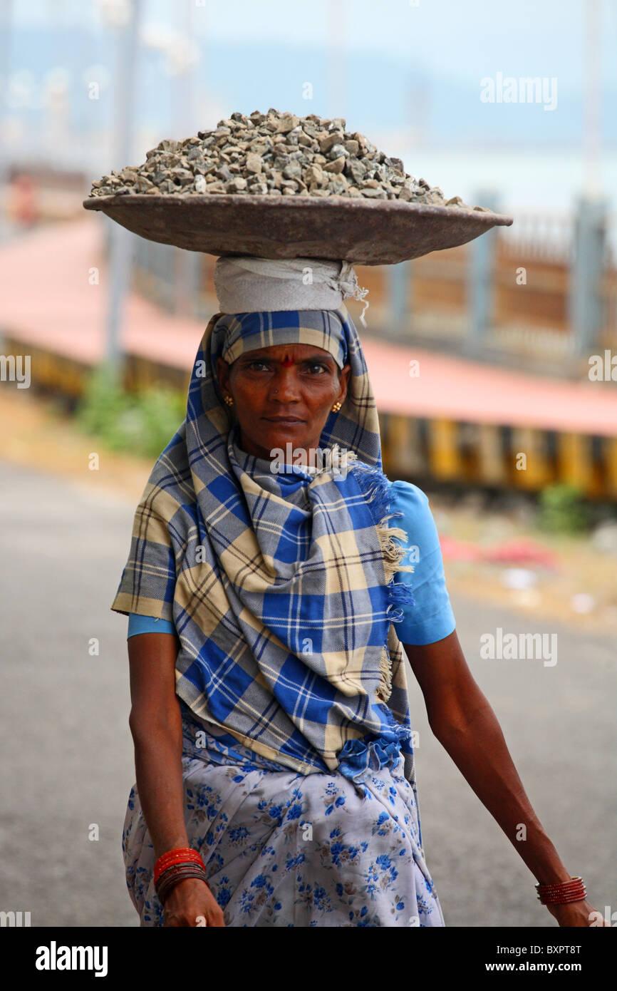 Female manual labourer on Port Blair, Andaman Islands, India - Stock Image