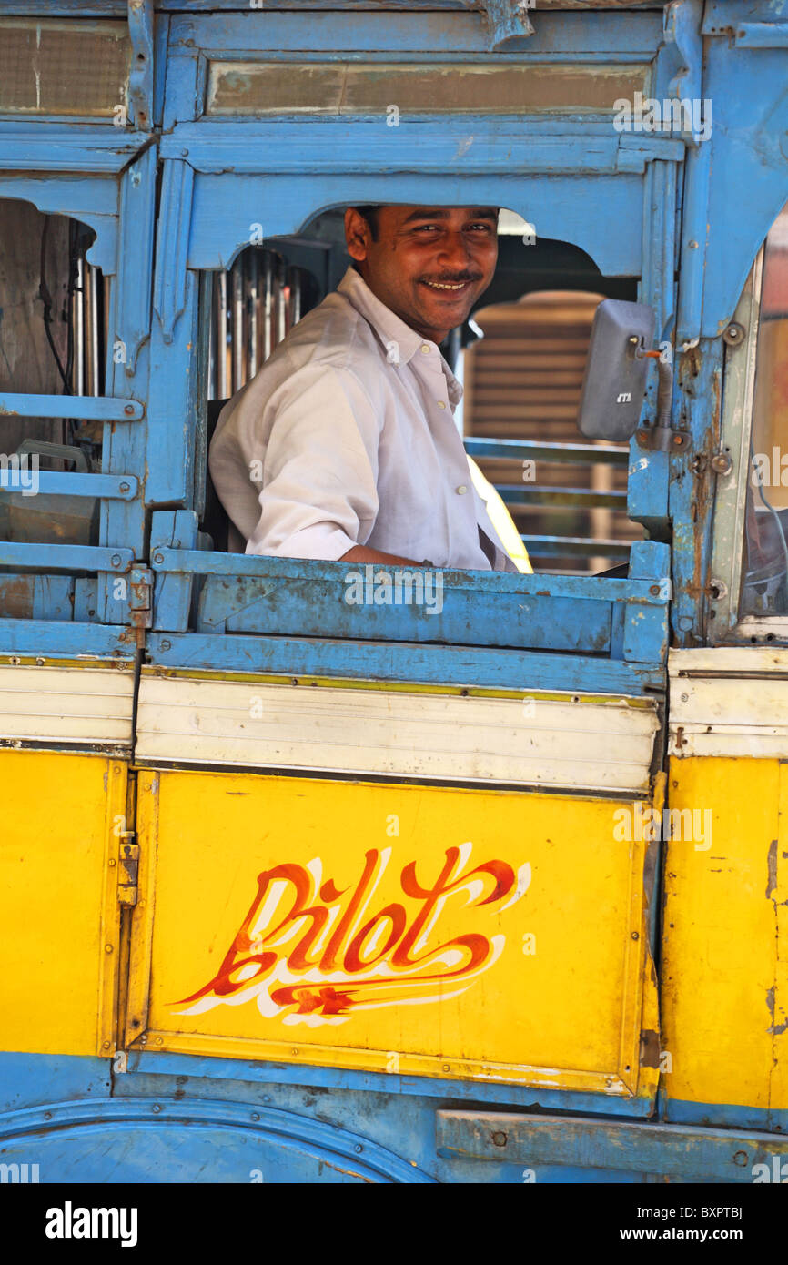 Indian bus driver - Stock Image