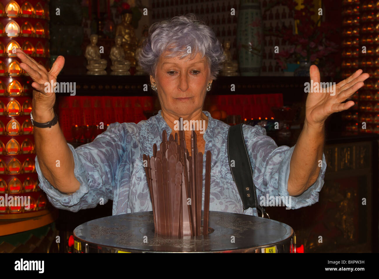 Kau Cim, fortune telling sticks in the Chinese Thean Hou Temple, Kuala Lumpur, Malaysia. - Stock Image