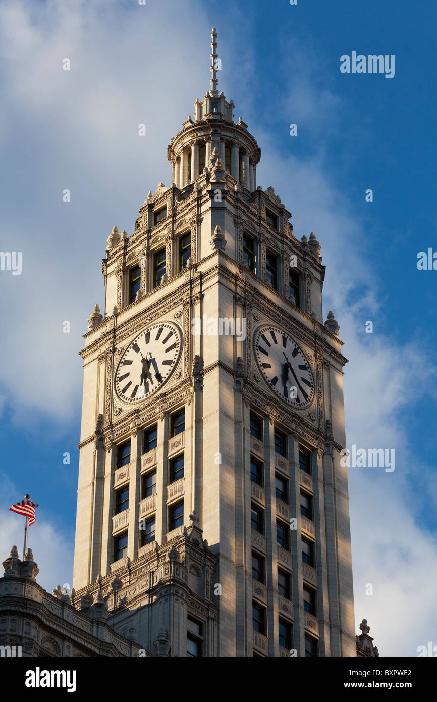 detail of facade of the Wrigley Building, Chicago, illinois, USA - Stock Image
