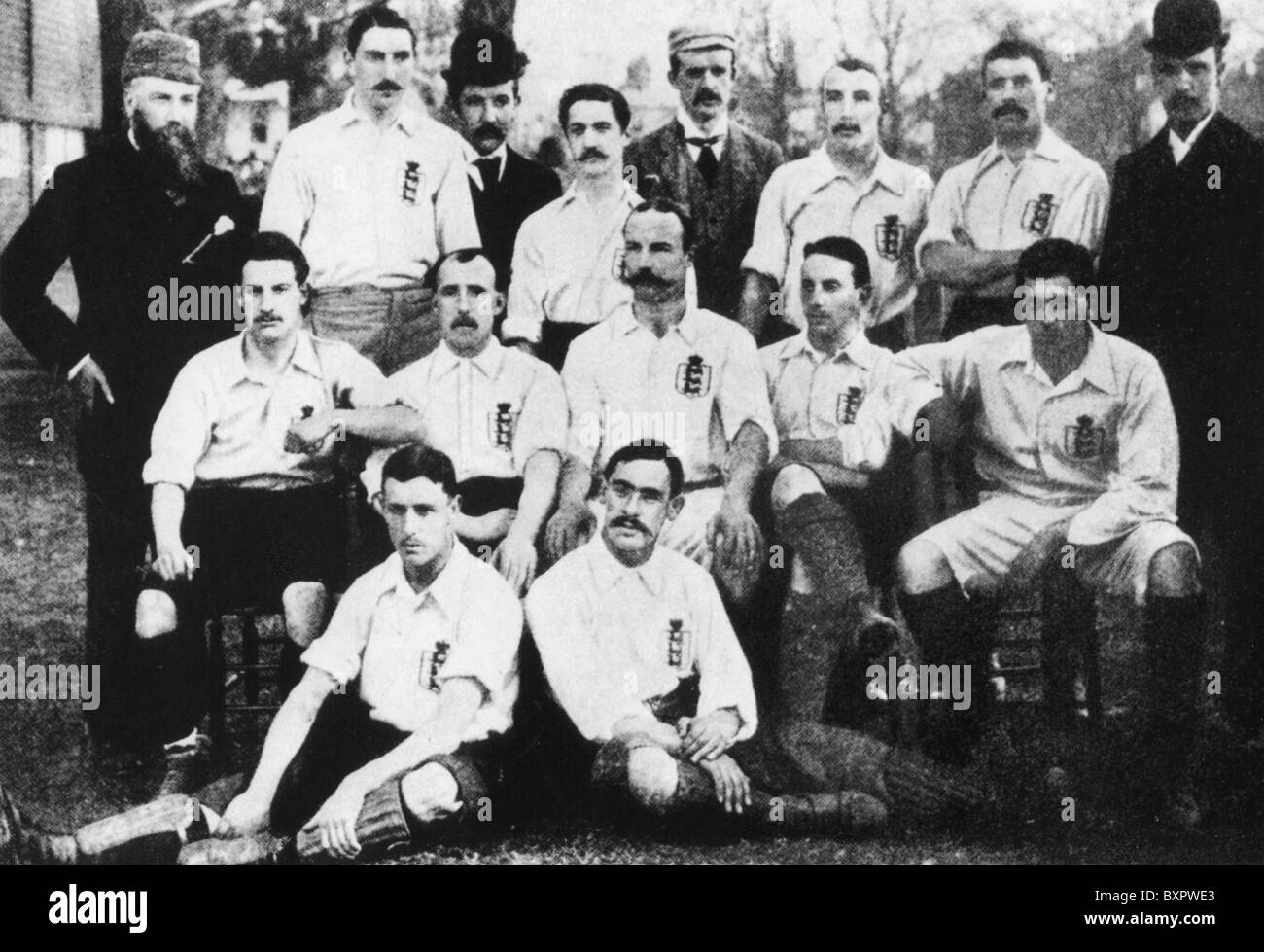 ENGLISH FOOTBALL TEAM who beat Scotland 5-2 at Richmond Athletic ground 1 April 1893 . See Description below - Stock Image