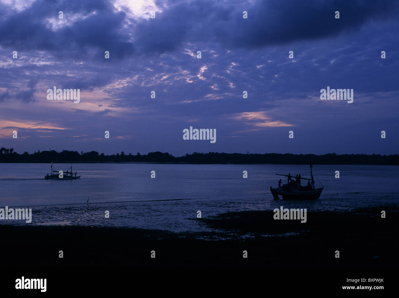 Amazon river in the evening Soure MARAJO ISLAND  State of Pará. BRAZIL (Amazon) Stock Photo