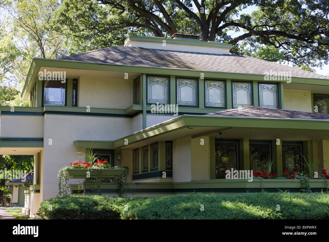 detail of J. Kibben Ingalls house by Frank Lloyd Wright, River Forest, Chicago, Illinois, USA - Stock Image