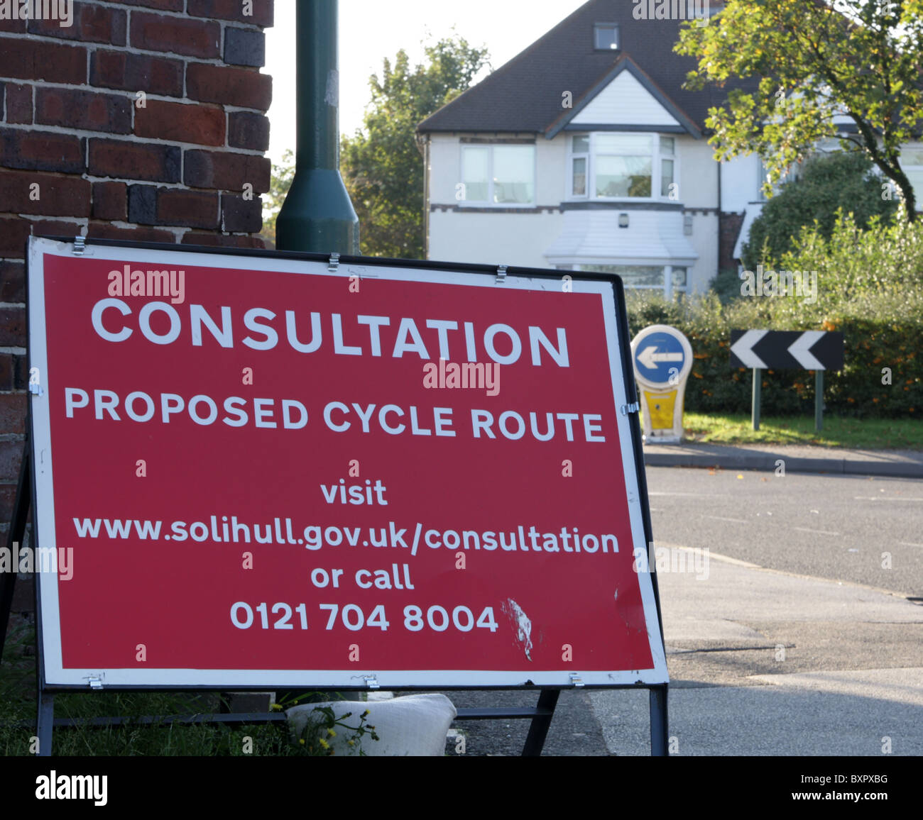 Consultation proposed cycle route sign, UK 2010 Stock Photo
