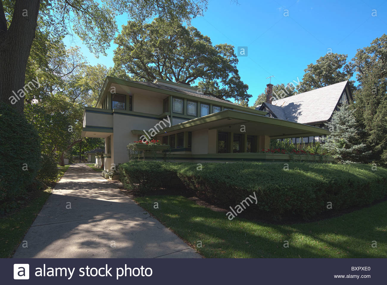J. Kibben Ingalls house by Frank Lloyd Wright, River Forest, Chicago, Illinois, USA - Stock Image
