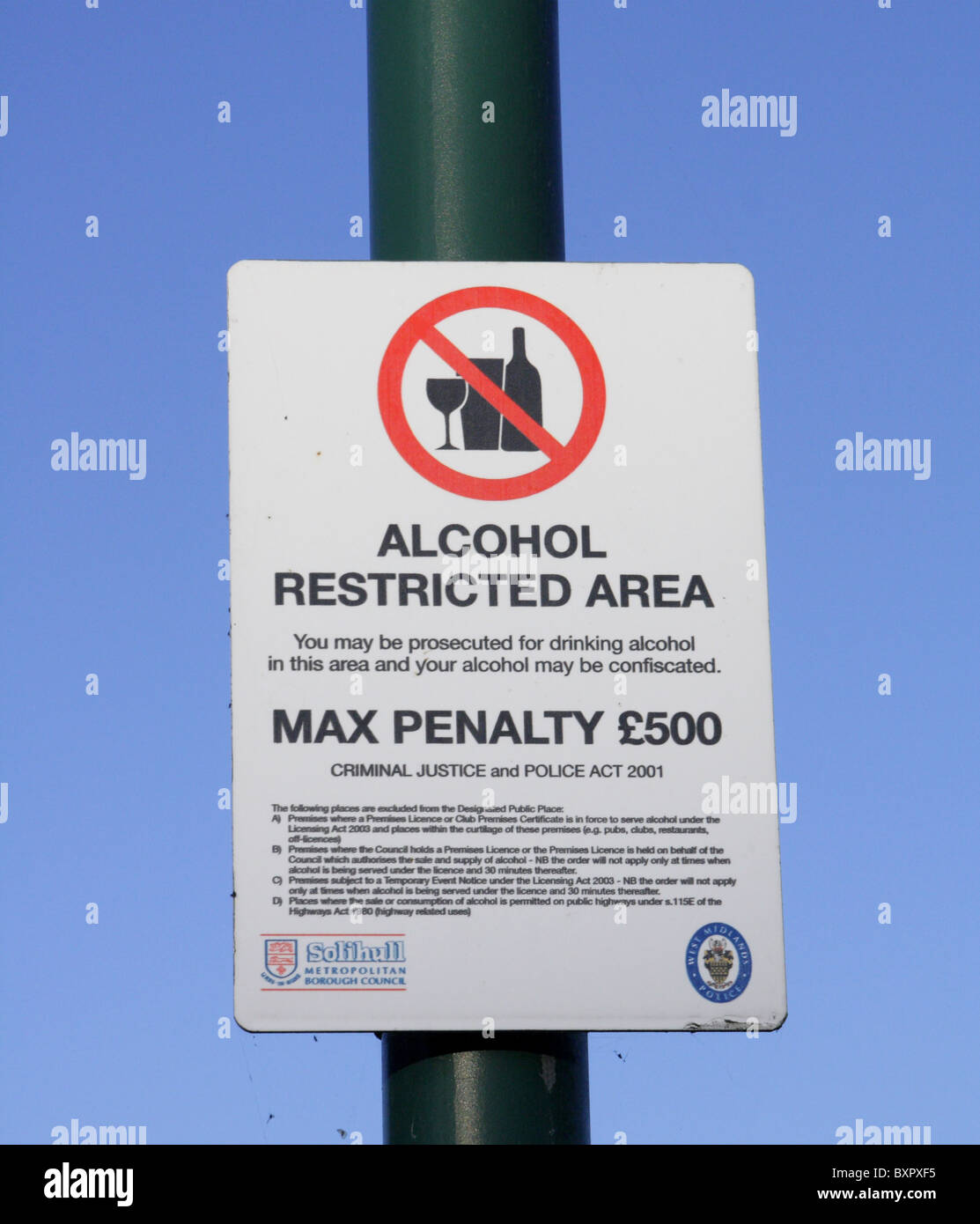 Alcohol restricted area  - UK - Stock Image